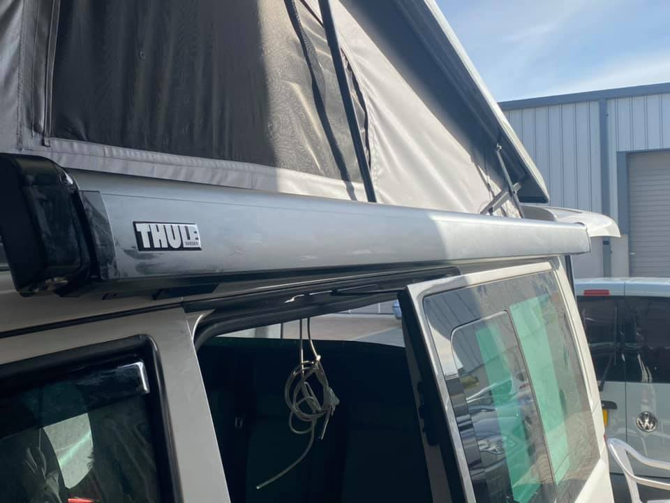 Thule awning fitting to our VW campervan available for hire soon